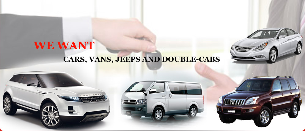 We Want cars, vans, jeeps and double-cabs
